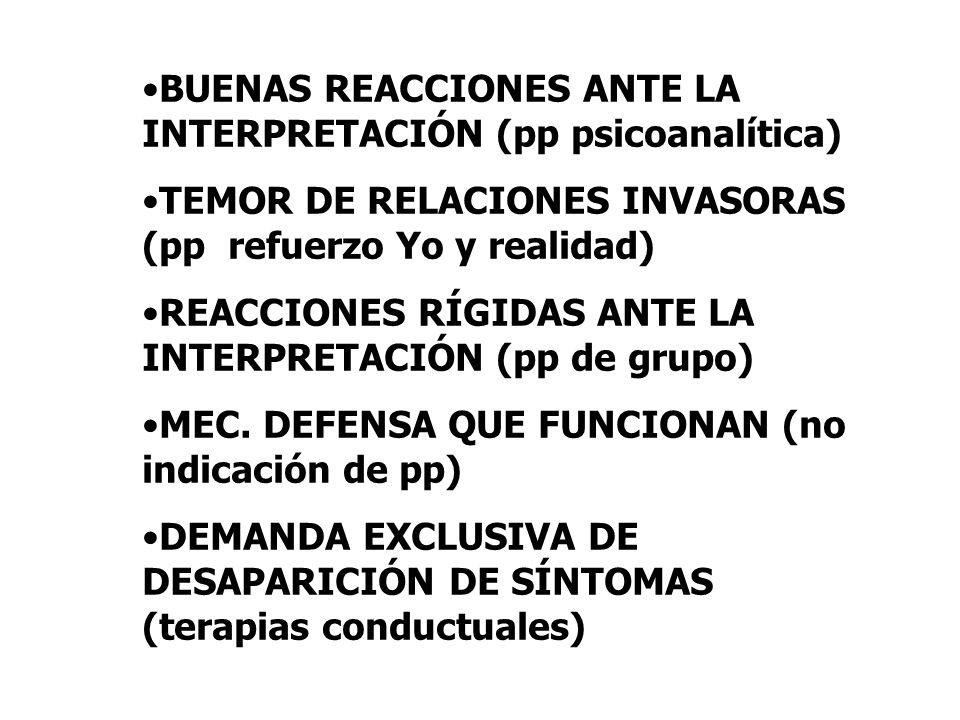 BUENAS REACCIONES ANTE LA INTERPRETACIÓN (pp psicoanalítica) TEMOR DE RELACIONES INVASORAS (pp refuerzo Yo y realidad) REACCIONES RÍGIDAS ANTE LA INTE