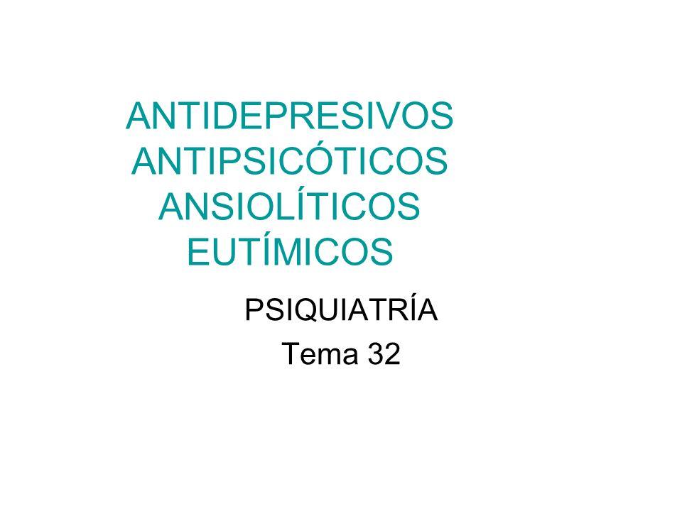 ANTIDEPRESIVOS ANTIPSICÓTICOS ANSIOLÍTICOS EUTÍMICOS PSIQUIATRÍA Tema 32