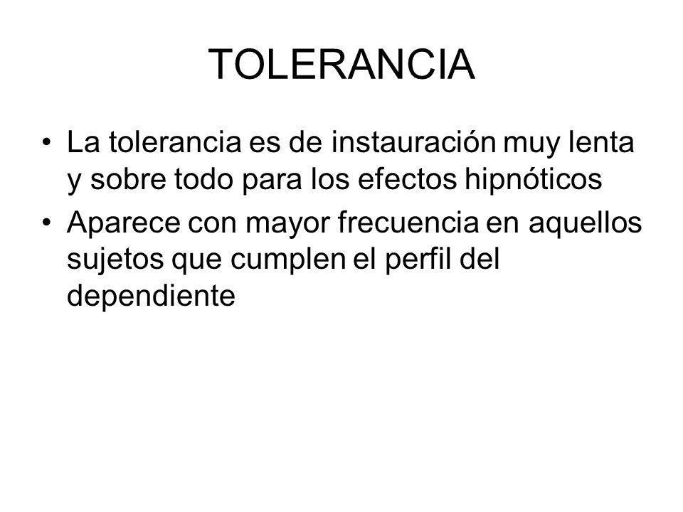 TOLERANCIA La tolerancia es de instauración muy lenta y sobre todo para los efectos hipnóticos Aparece con mayor frecuencia en aquellos sujetos que cu