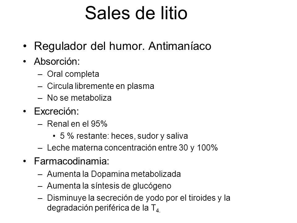 Sales de litio Regulador del humor. Antimaníaco Absorción: –Oral completa –Circula libremente en plasma –No se metaboliza Excreción: –Renal en el 95%