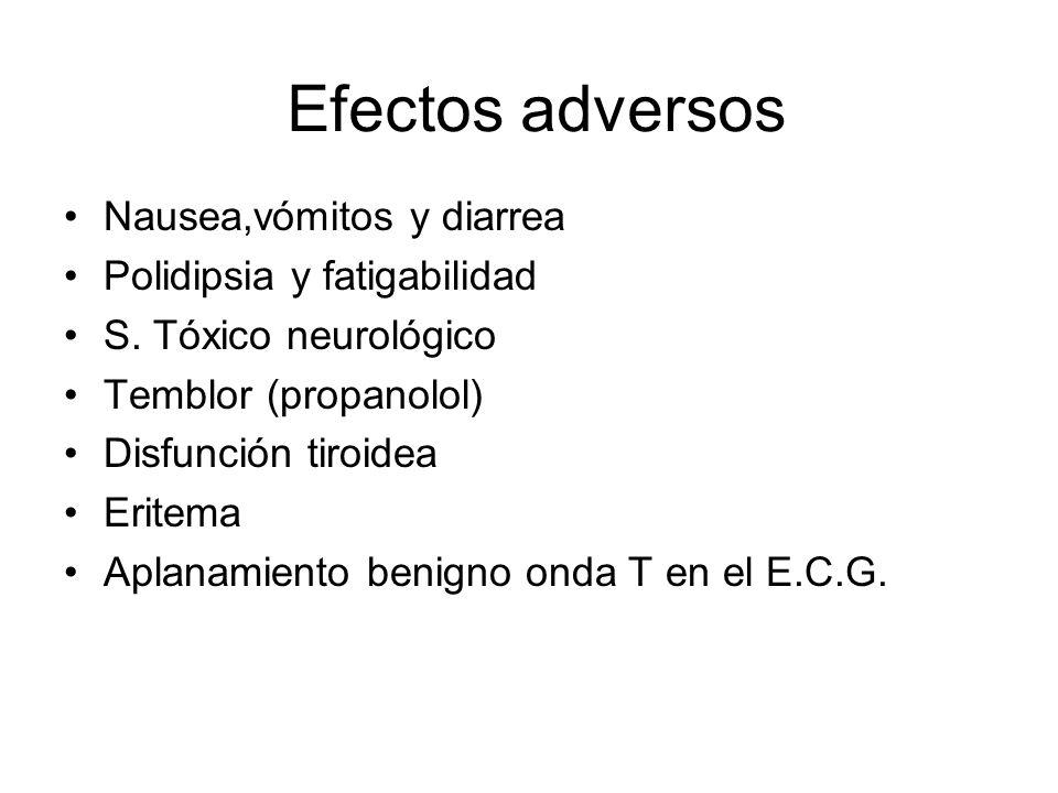 Efectos adversos Nausea,vómitos y diarrea Polidipsia y fatigabilidad S. Tóxico neurológico Temblor (propanolol) Disfunción tiroidea Eritema Aplanamien