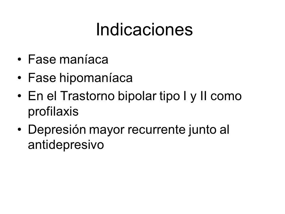 Indicaciones Fase maníaca Fase hipomaníaca En el Trastorno bipolar tipo I y II como profilaxis Depresión mayor recurrente junto al antidepresivo