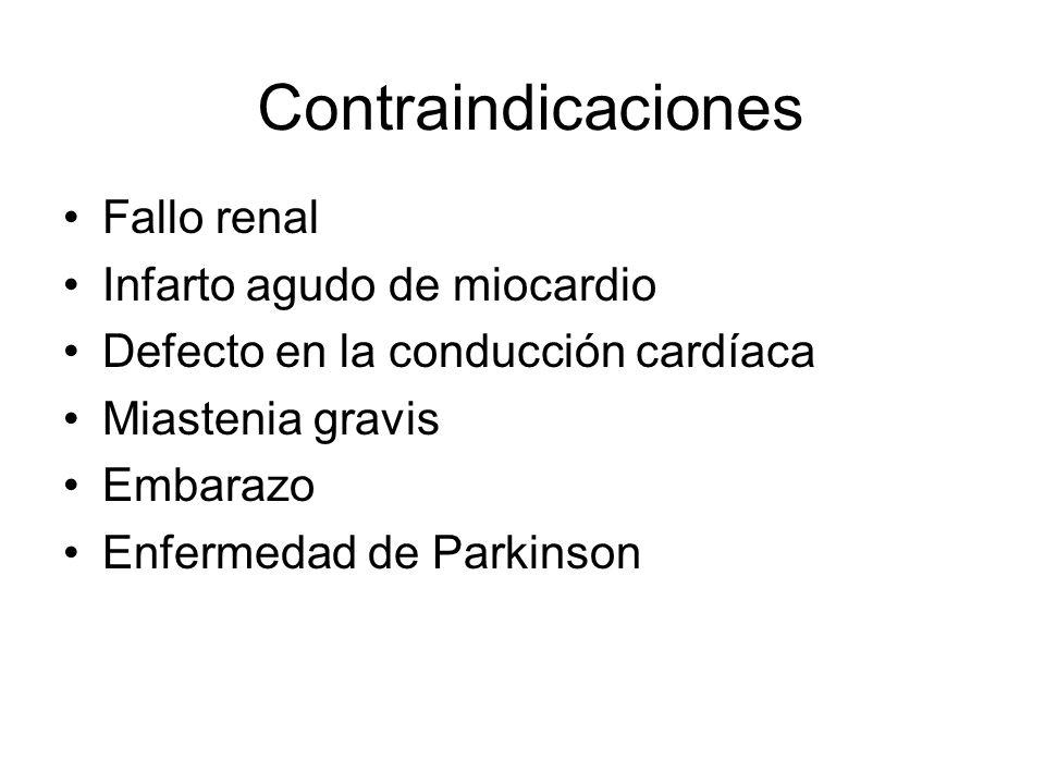 Contraindicaciones Fallo renal Infarto agudo de miocardio Defecto en la conducción cardíaca Miastenia gravis Embarazo Enfermedad de Parkinson