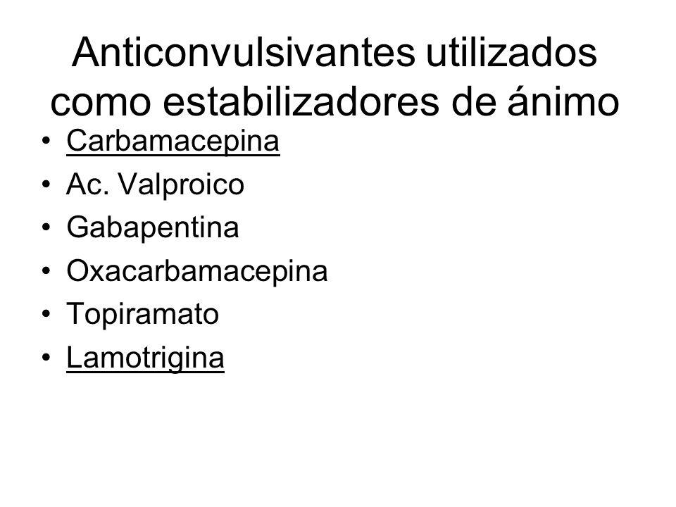 Anticonvulsivantes utilizados como estabilizadores de ánimo Carbamacepina Ac. Valproico Gabapentina Oxacarbamacepina Topiramato Lamotrigina