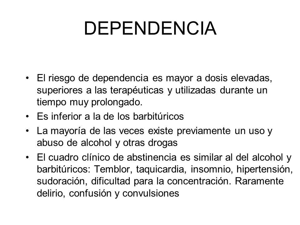 DEPENDENCIA El riesgo de dependencia es mayor a dosis elevadas, superiores a las terapéuticas y utilizadas durante un tiempo muy prolongado. Es inferi