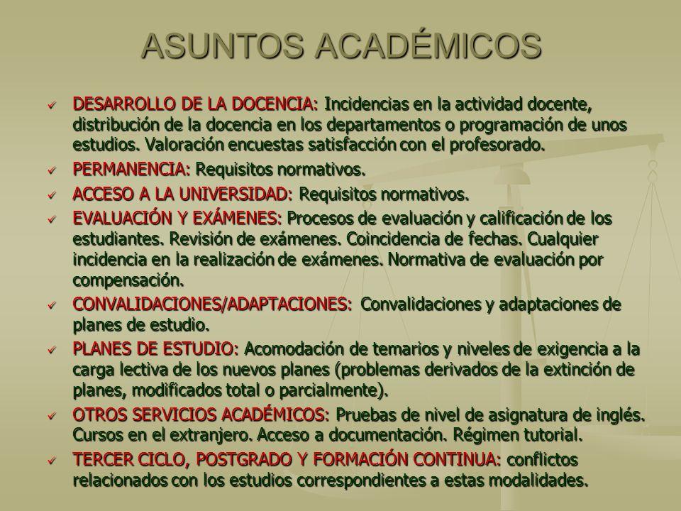 ASUNTOS ACADÉMICOS DESARROLLO DE LA DOCENCIA: Incidencias en la actividad docente, distribución de la docencia en los departamentos o programación de unos estudios.