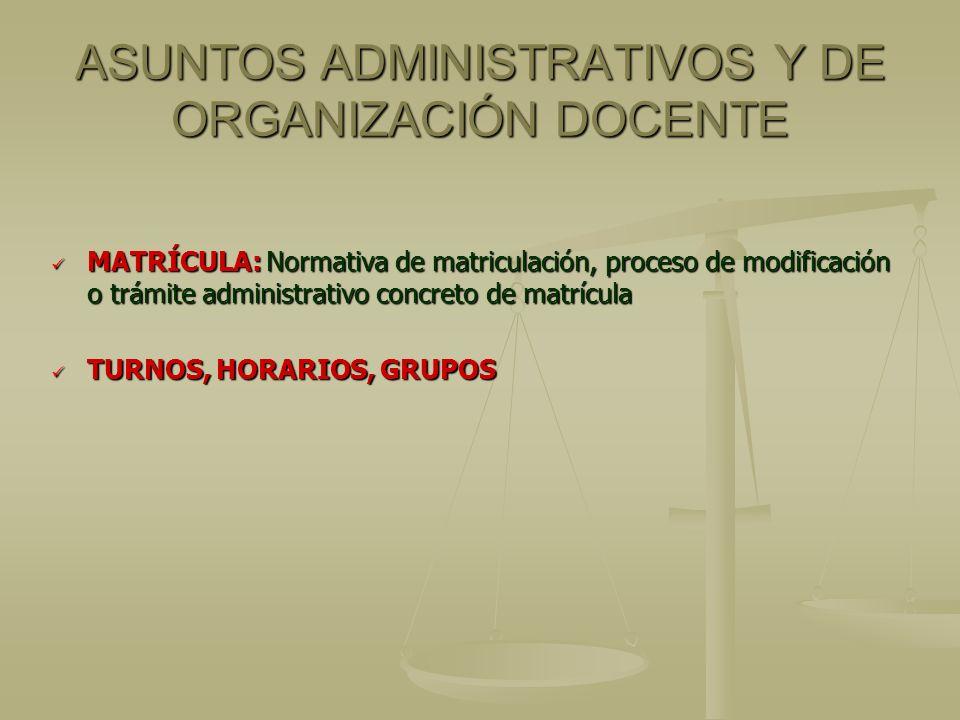 ASUNTOS ADMINISTRATIVOS Y DE ORGANIZACIÓN DOCENTE MATRÍCULA: Normativa de matriculación, proceso de modificación o trámite administrativo concreto de matrícula MATRÍCULA: Normativa de matriculación, proceso de modificación o trámite administrativo concreto de matrícula TURNOS, HORARIOS, GRUPOS TURNOS, HORARIOS, GRUPOS