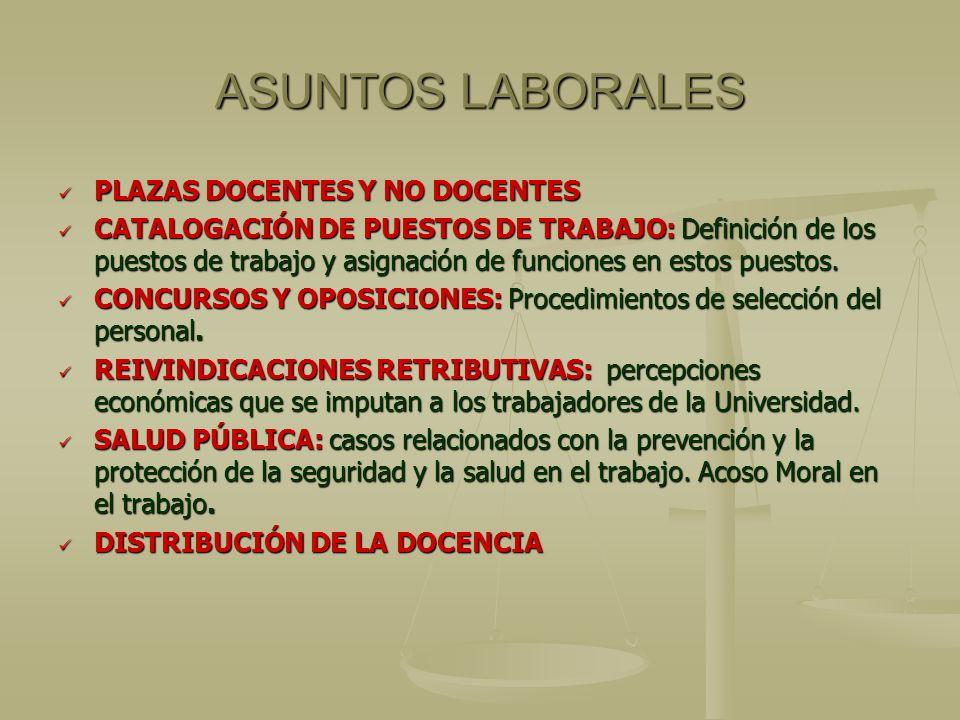ASUNTOS LABORALES PLAZAS DOCENTES Y NO DOCENTES PLAZAS DOCENTES Y NO DOCENTES CATALOGACIÓN DE PUESTOS DE TRABAJO: Definición de los puestos de trabajo y asignación de funciones en estos puestos.