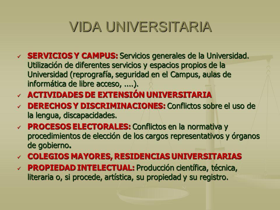 VIDA UNIVERSITARIA SERVICIOS Y CAMPUS: Servicios generales de la Universidad. Utilización de diferentes servicios y espacios propios de la Universidad