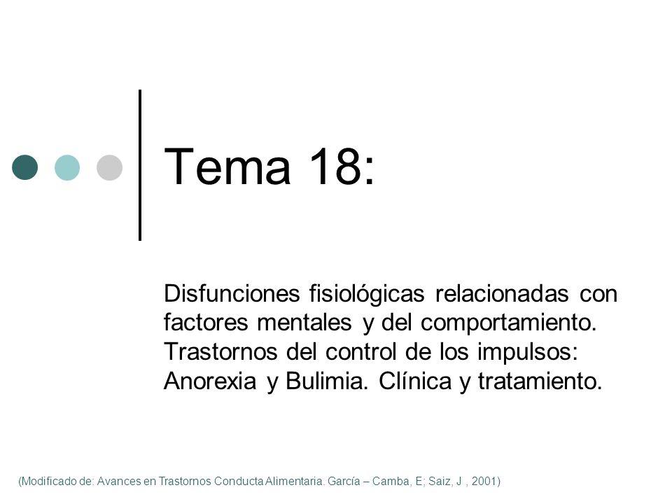 Tema 18: Disfunciones fisiológicas relacionadas con factores mentales y del comportamiento. Trastornos del control de los impulsos: Anorexia y Bulimia