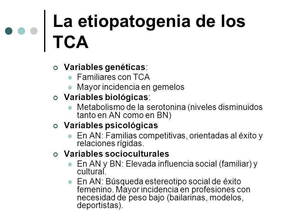 La etiopatogenia de los TCA Variables genéticas: Familiares con TCA Mayor incidencia en gemelos Variables biológicas: Metabolismo de la serotonina (ni