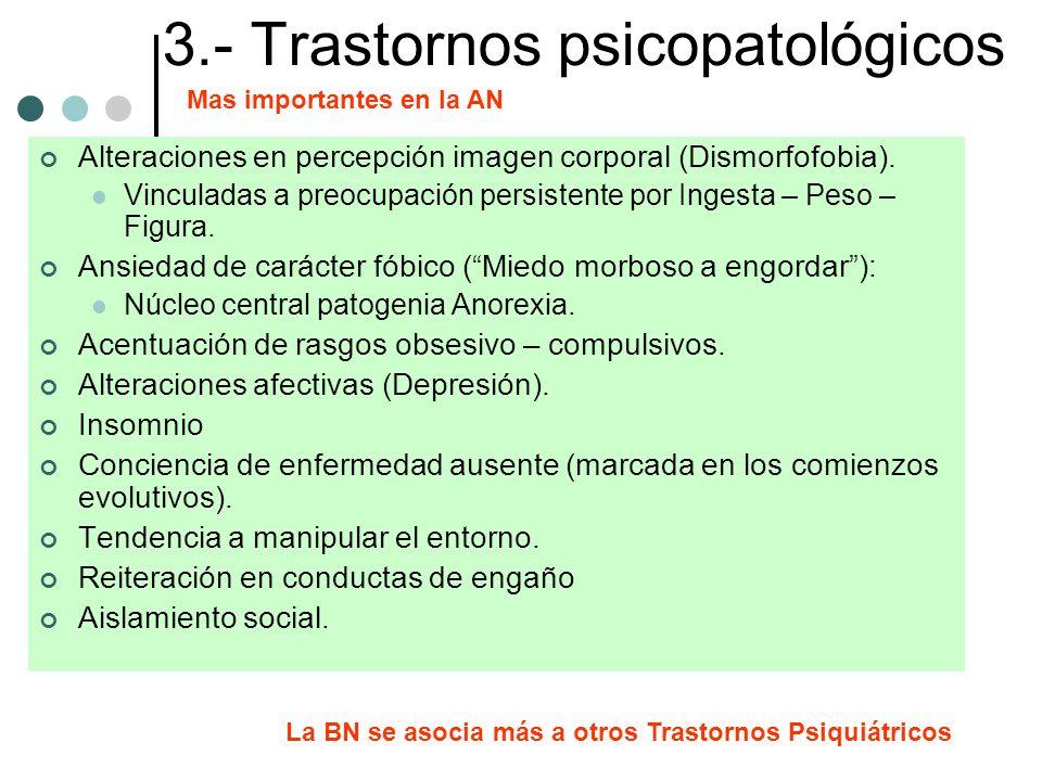 3.- Trastornos psicopatológicos Alteraciones en percepción imagen corporal (Dismorfofobia). Vinculadas a preocupación persistente por Ingesta – Peso –