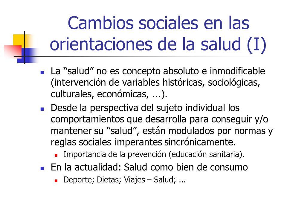 Cambios sociales en las orientaciones de la salud (I) La salud no es concepto absoluto e inmodificable (intervención de variables históricas, sociológ