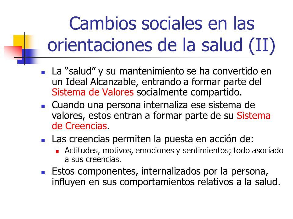 Cambios sociales en las orientaciones de la salud (II) La salud y su mantenimiento se ha convertido en un Ideal Alcanzable, entrando a formar parte de