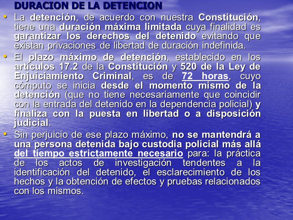En las SSTC 31/1996, de 27 de febrero, y 86/1996, de 21 de mayo En las SSTC 31/1996, de 27 de febrero, y 86/1996, de 21 de mayo se señala expresamente que «El plazo de setenta y dos horas que establece la Constitución es un límite máximo de carácter absoluto, para la detención policial, cuyo cómputo resulta inequívoco y simple.