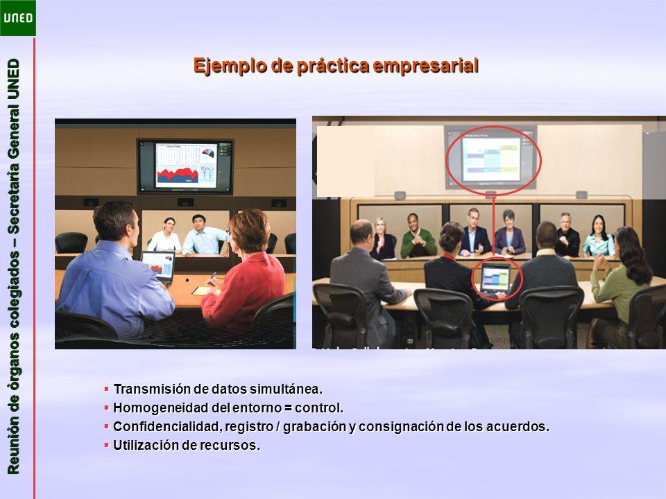 Reunión de órganos colegiados – Secretaría General UNED Ejemplo de práctica empresarial Transmisión de datos simultánea. Transmisión de datos simultán