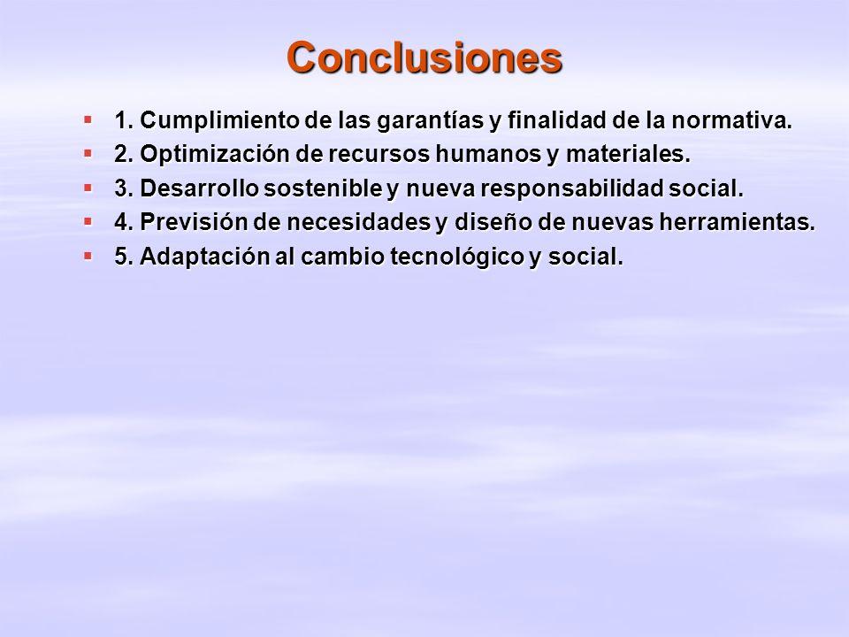 Conclusiones 1. Cumplimiento de las garantías y finalidad de la normativa. 1. Cumplimiento de las garantías y finalidad de la normativa. 2. Optimizaci