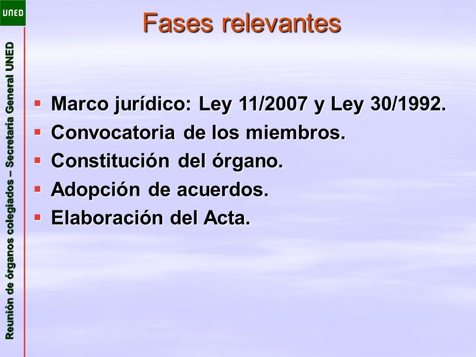 Reunión de órganos colegiados – Secretaría General UNED Fases relevantes Marco jurídico: Ley 11/2007 y Ley 30/1992. Marco jurídico: Ley 11/2007 y Ley