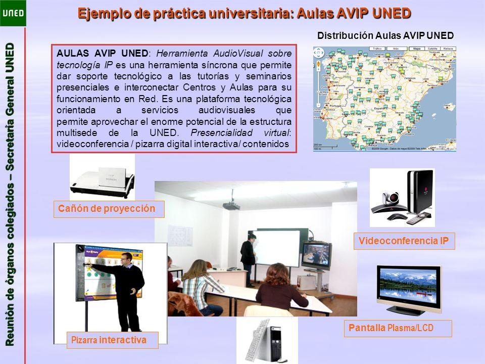 Reunión de órganos colegiados – Secretaría General UNED Ejemplo de práctica universitaria: Aulas AVIP UNED Distribución Aulas AVIP UNED Videoconferenc