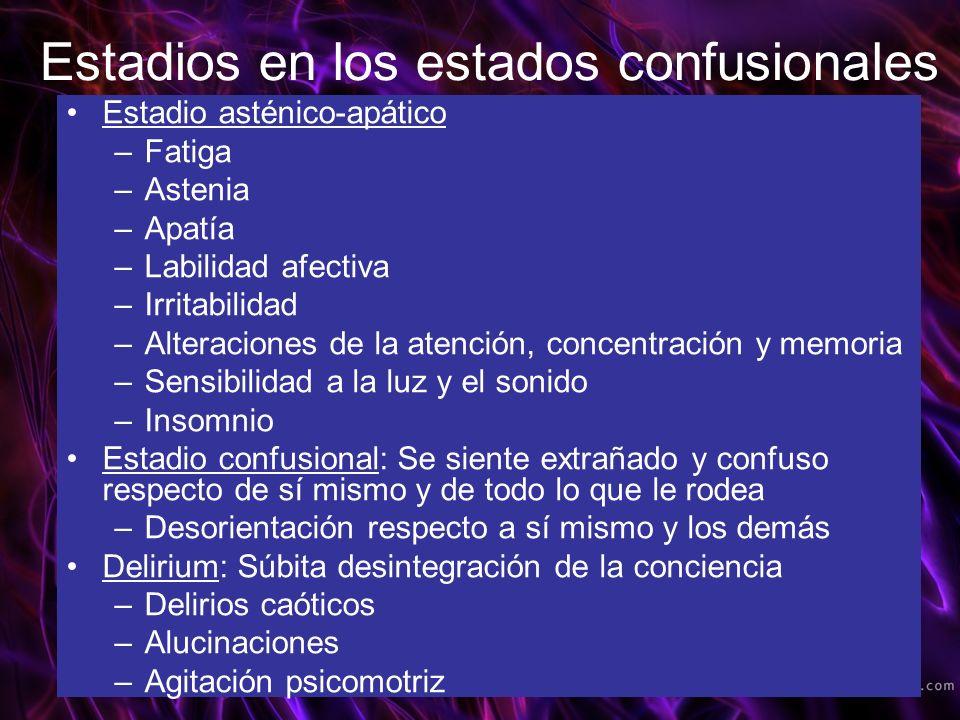 Estadio asténico-apático –Fatiga –Astenia –Apatía –Labilidad afectiva –Irritabilidad –Alteraciones de la atención, concentración y memoria –Sensibilid