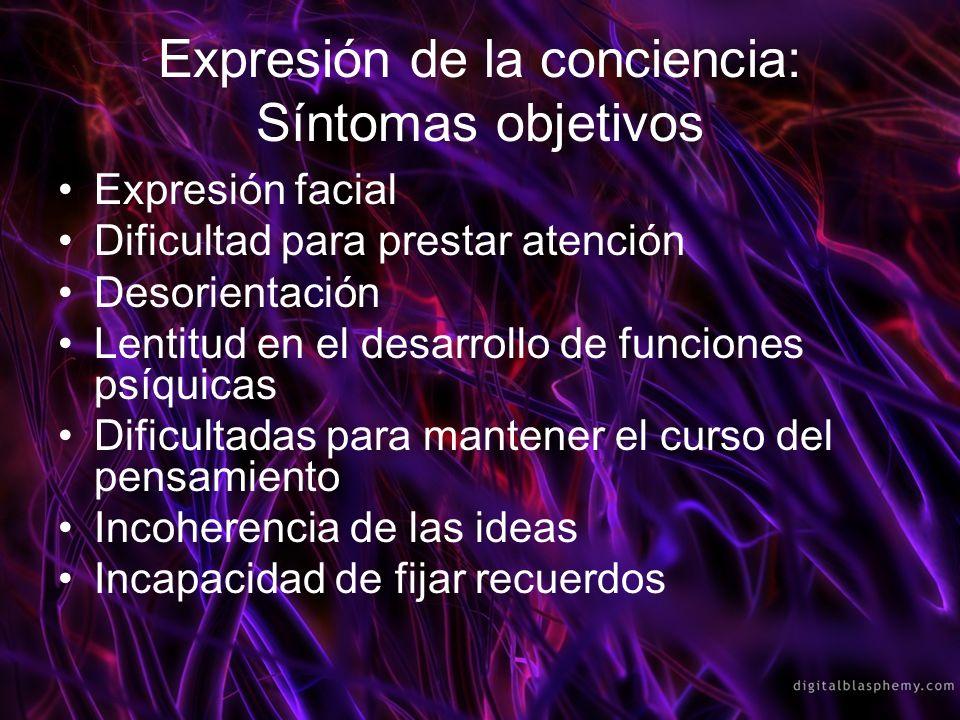 Expresión de la conciencia: Síntomas subjetivos Tengo como hueca la cabeza Estoy como atontado, veo todas las cosas confusas