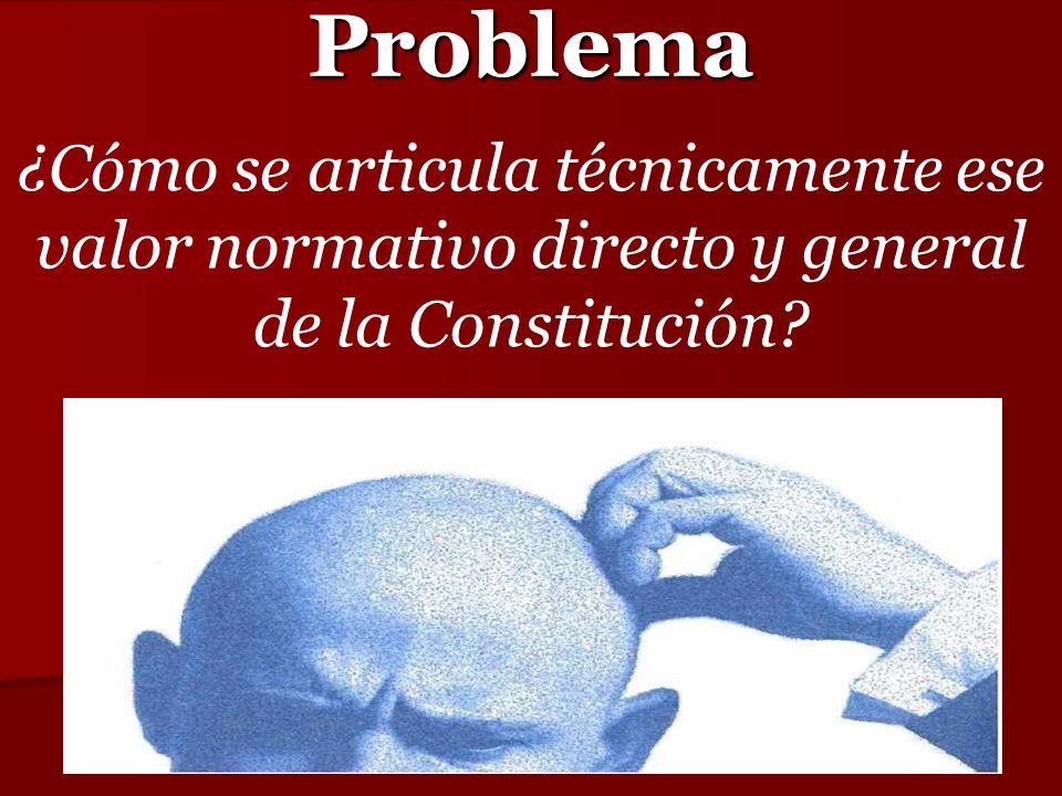 Problema ¿Cómo se articula técnicamente ese valor normativo directo y general de la Constitución?