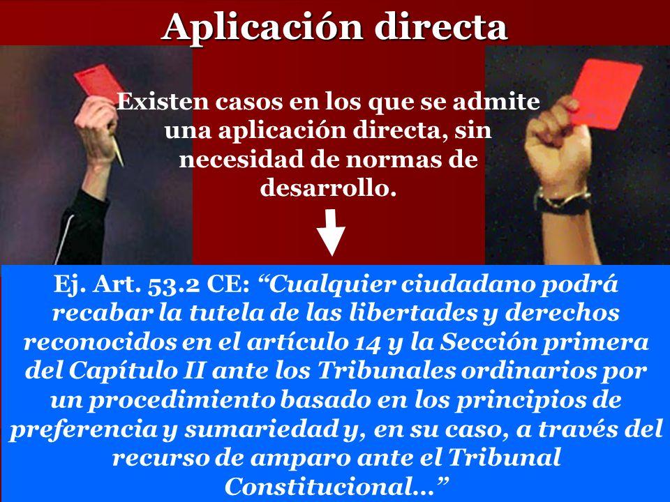 Aplicación directa Existen casos en los que se admite una aplicación directa, sin necesidad de normas de desarrollo. Ej. Art. 53.2 CE: Cualquier ciuda
