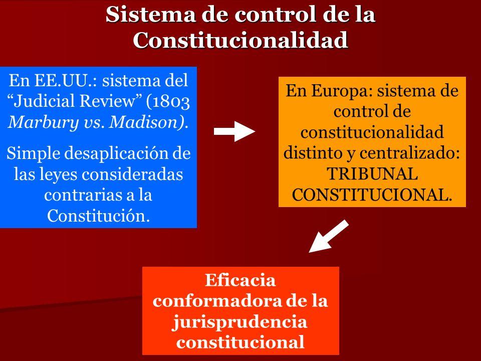 Sistema de control de la Constitucionalidad En Europa: sistema de control de constitucionalidad distinto y centralizado: TRIBUNAL CONSTITUCIONAL. En E