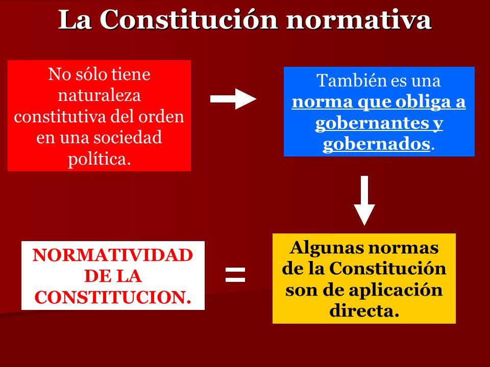 La Constitución normativa No sólo tiene naturaleza constitutiva del orden en una sociedad política. También es una norma que obliga a gobernantes y go