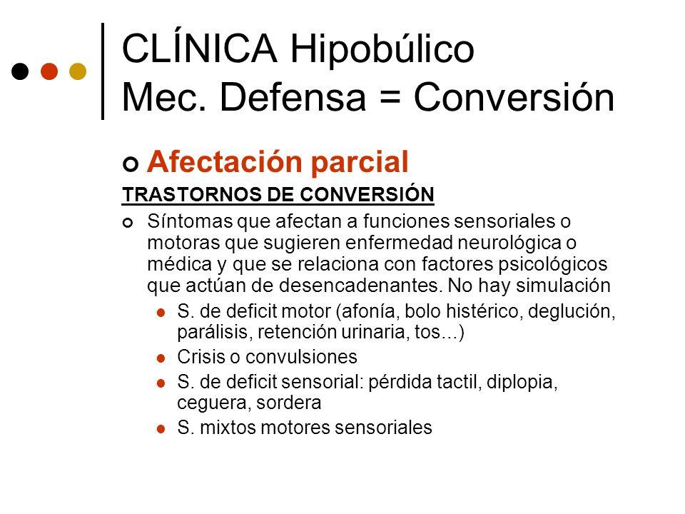 Afectación parcial TRASTORNOS DE CONVERSIÓN Síntomas que afectan a funciones sensoriales o motoras que sugieren enfermedad neurológica o médica y que