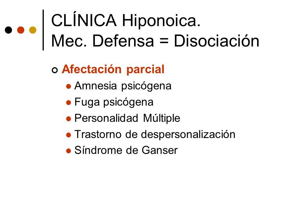Afectación parcial Amnesia psicógena Fuga psicógena Personalidad Múltiple Trastorno de despersonalización Síndrome de Ganser CLÍNICA Hiponoica. Mec. D