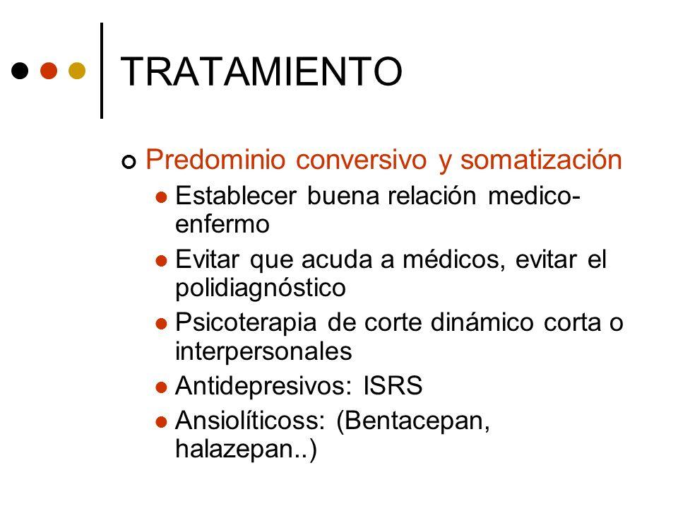 TRATAMIENTO Predominio conversivo y somatización Establecer buena relación medico- enfermo Evitar que acuda a médicos, evitar el polidiagnóstico Psico