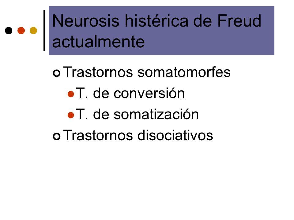 Neurosis histérica de Freud actualmente Trastornos somatomorfes T. de conversión T. de somatización Trastornos disociativos