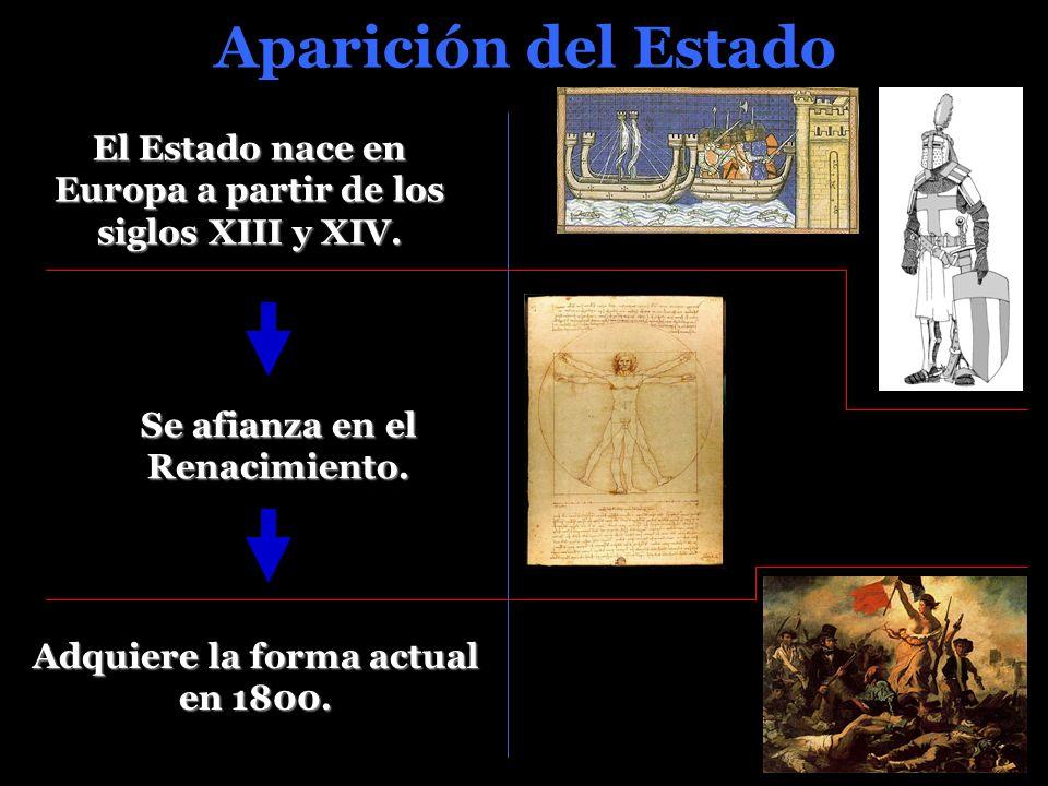 Aparición del Estado El Estado nace en Europa a partir de los siglos XIII y XIV.