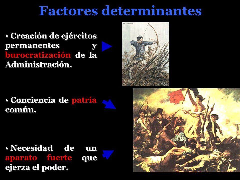 Factores determinantes Creación de ejércitos permanentes y de la Administración.
