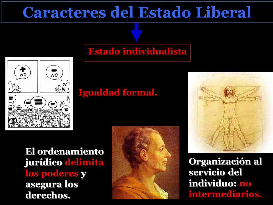 Caracteres del Estado Liberal Estado individualista Organización al servicio del individuo: Organización al servicio del individuo: no intermediarios.