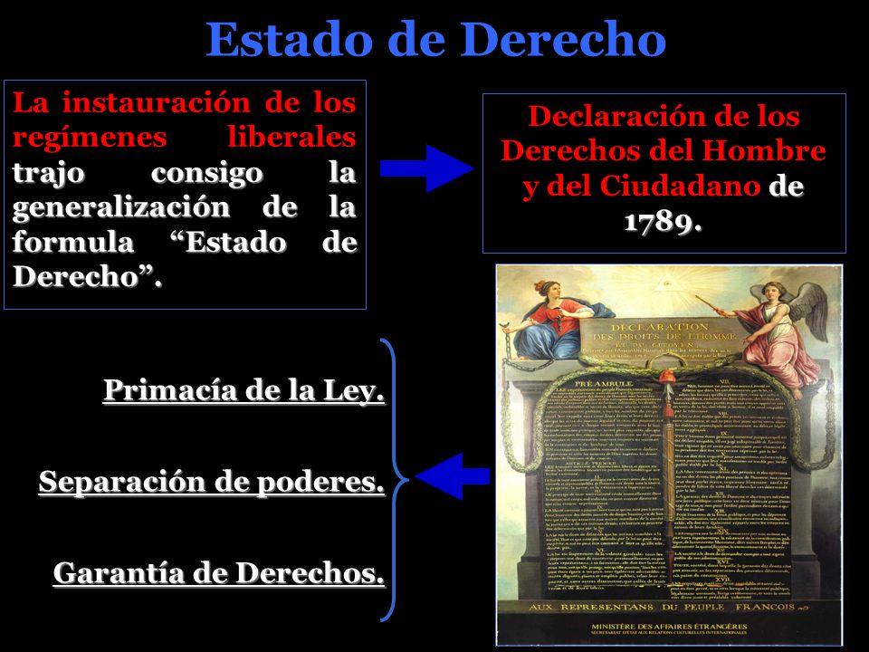 Estado de Derecho trajo consigo la generalización de la formula Estado de Derecho.