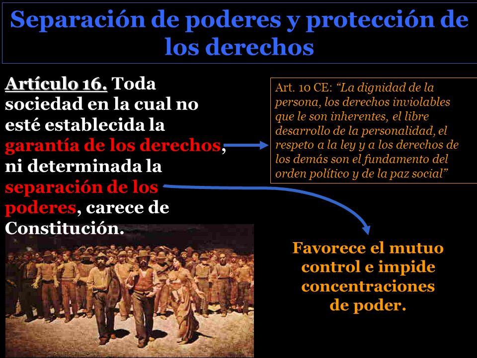 Separación de poderes y protección de los derechos Artículo 16.