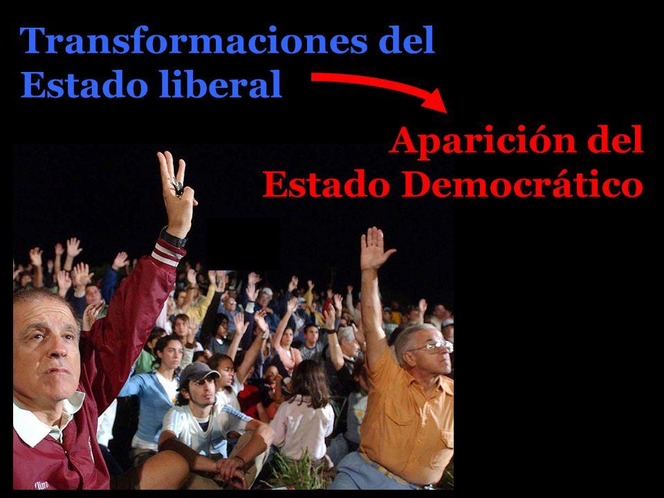 Aparición del Estado Democrático Transformaciones del Estado liberal