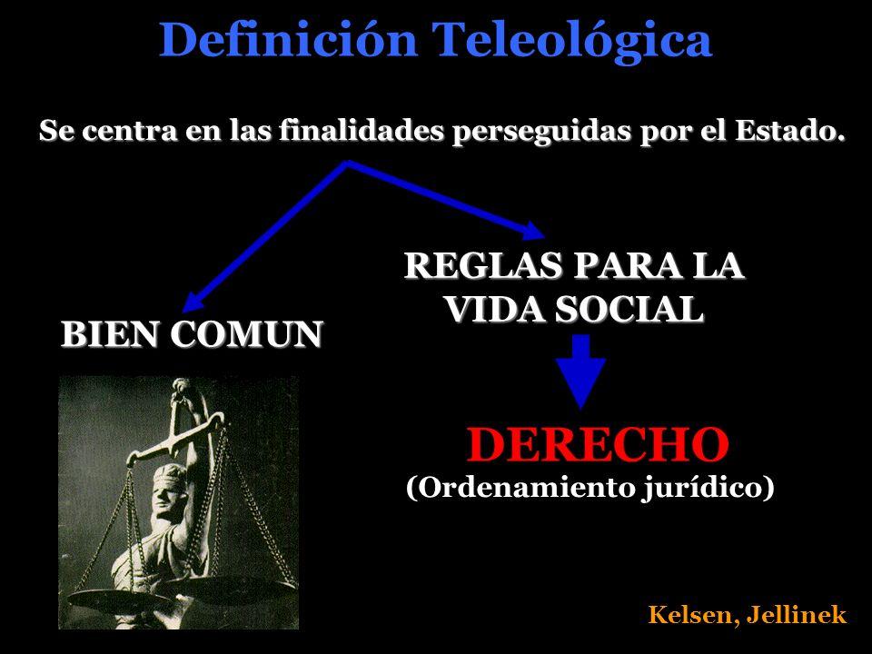 Definición Teleológica Se centra en las finalidades perseguidas por el Estado.