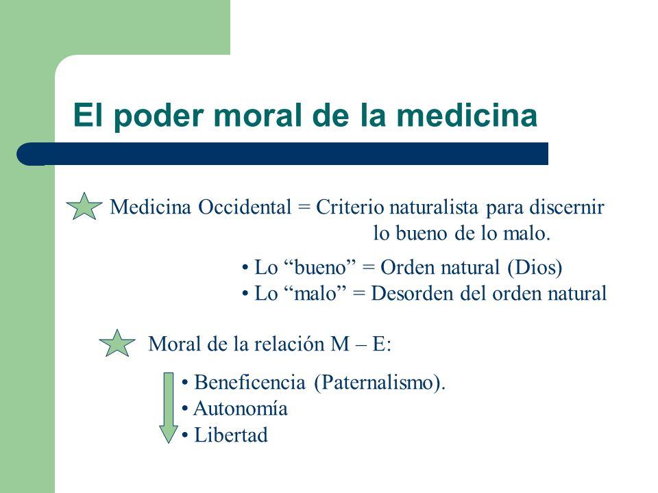 El poder moral de la medicina Medicina Occidental = Criterio naturalista para discernir lo bueno de lo malo. Lo bueno = Orden natural (Dios) Lo malo =
