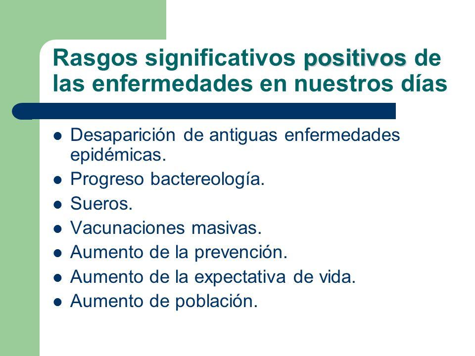 positivos Rasgos significativos positivos de las enfermedades en nuestros días Desaparición de antiguas enfermedades epidémicas. Progreso bactereologí