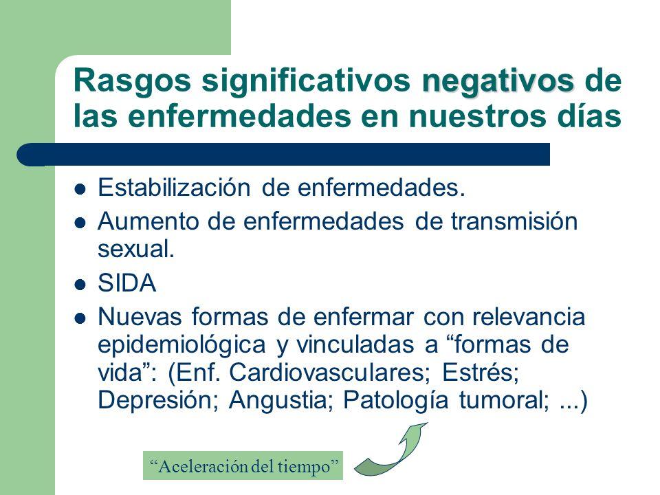 negativos Rasgos significativos negativos de las enfermedades en nuestros días Estabilización de enfermedades. Aumento de enfermedades de transmisión