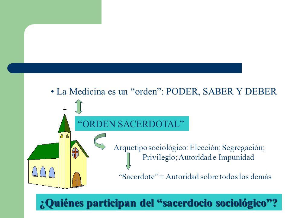 La Medicina es un orden: PODER, SABER Y DEBER ORDEN SACERDOTAL Arquetipo sociológico: Elección; Segregación; Privilegio; Autoridad e Impunidad Sacerdo