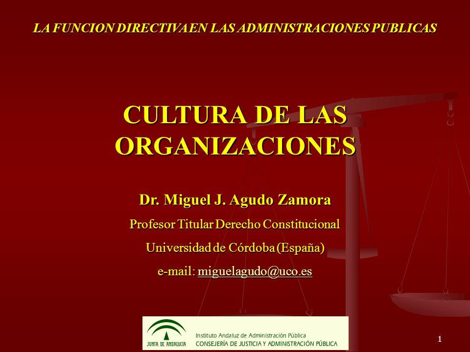 1 LA FUNCION DIRECTIVA EN LAS ADMINISTRACIONES PUBLICAS CULTURA DE LAS ORGANIZACIONES Dr. Miguel J. Agudo Zamora Profesor Titular Derecho Constitucion