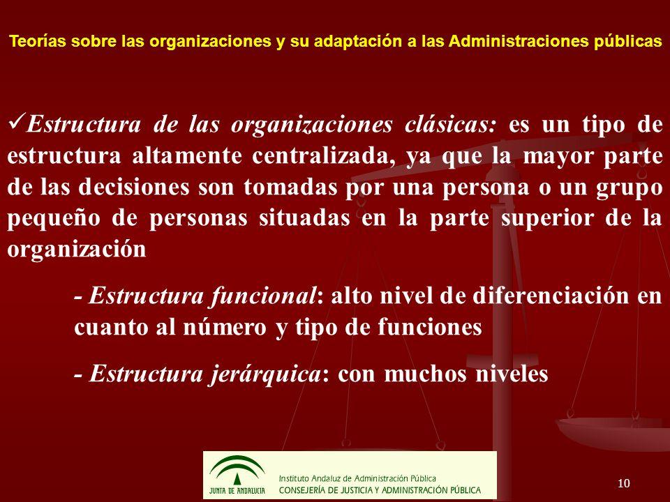 10 Teorías sobre las organizaciones y su adaptación a las Administraciones públicas Estructura de las organizaciones clásicas: es un tipo de estructur