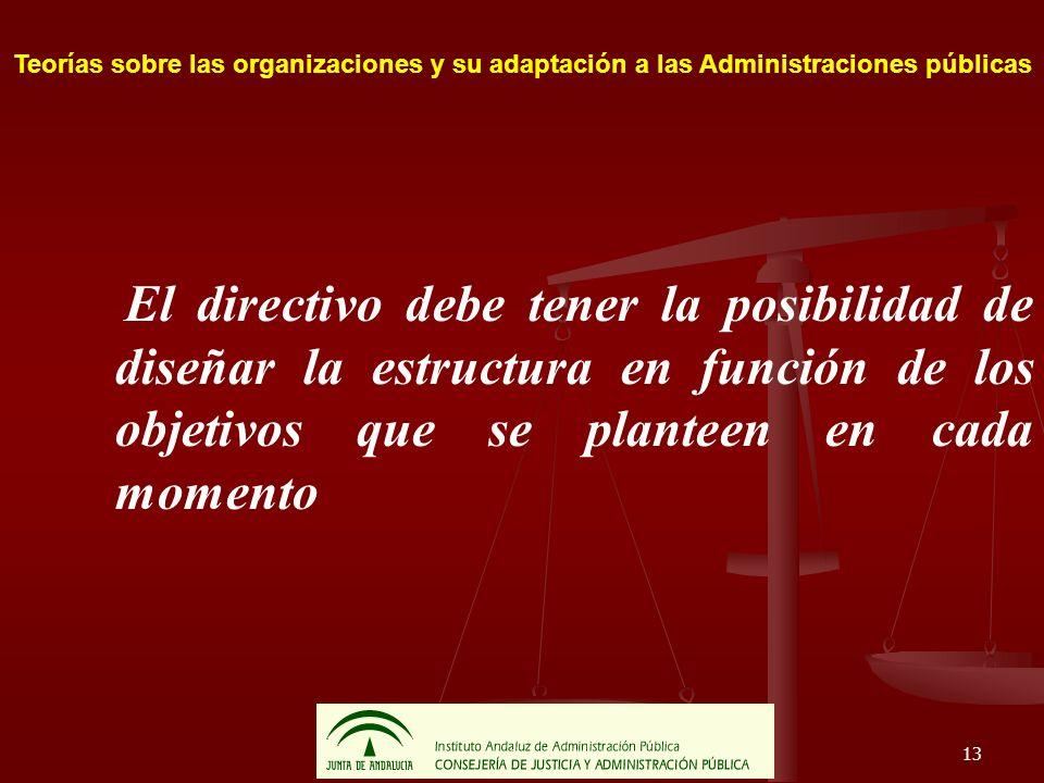 13 Teorías sobre las organizaciones y su adaptación a las Administraciones públicas El directivo debe tener la posibilidad de diseñar la estructura en