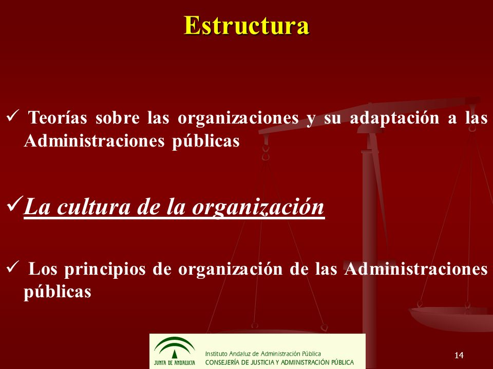 14 Estructura Teorías sobre las organizaciones y su adaptación a las Administraciones públicas La cultura de la organización Los principios de organiz