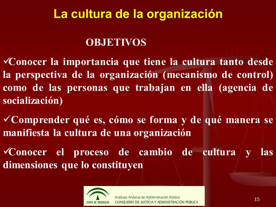 15 La cultura de la organización OBJETIVOS Conocer la importancia que tiene la cultura tanto desde la perspectiva de la organización (mecanismo de con