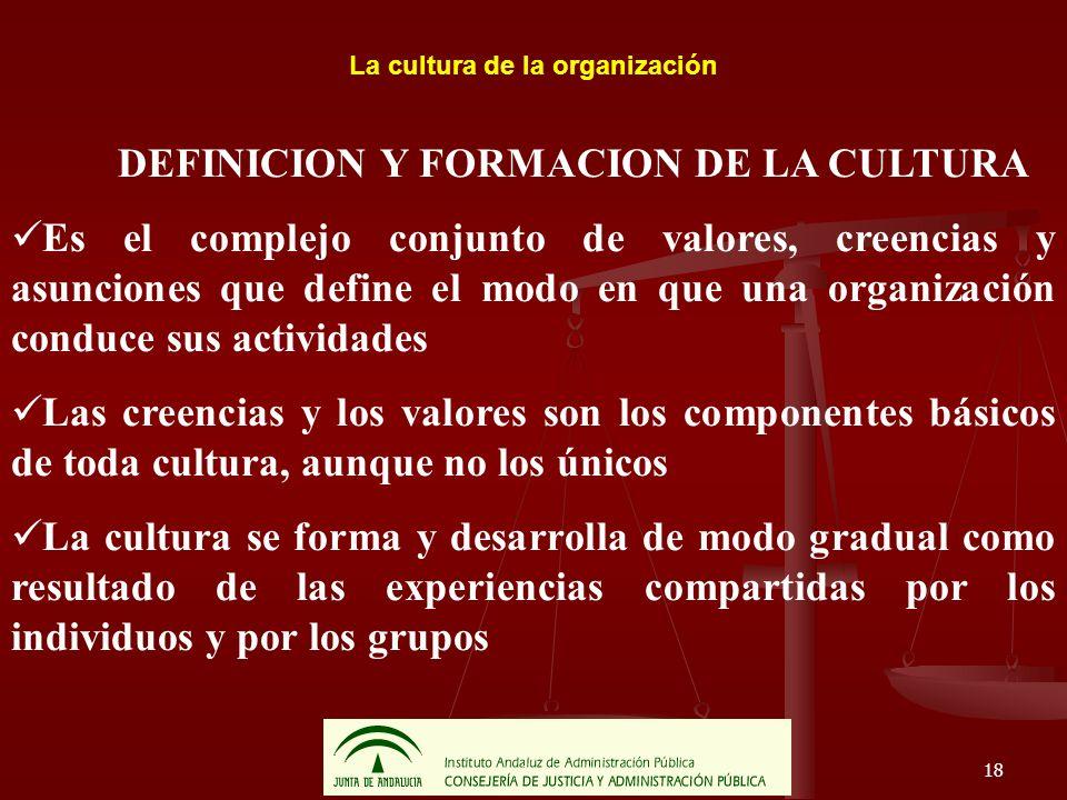 18 La cultura de la organización DEFINICION Y FORMACION DE LA CULTURA Es el complejo conjunto de valores, creencias y asunciones que define el modo en